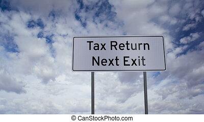 retour, impôt, signe, sortie, nuages, suivant