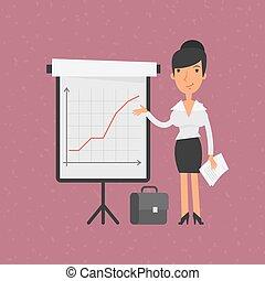 retourner-diagramme, femme affaires, points, graphique