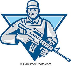 retr, américain, fusil, assaut, soldat