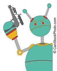 retr, fâché, sci-fi, fusil, robot