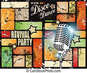 Retr? revival disco party flyer or poster for musical event