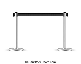 Retractable belt stanchion. Portable ribbon barrier. black fencing tape. Chrome stanchion