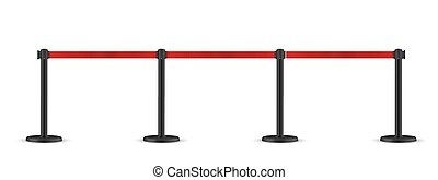 Retractable belt stanchion. Portable ribbon barrier. Red fencing tape. Dark matte stand
