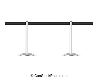 Retractable belt stanchion seamless illustration. Portable ribbon barrier. Black fencing tape.