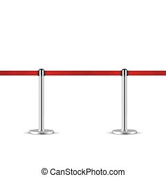 Retractable belt stanchion seamless illustration. Portable ribbon barrier. Red fencing tape.