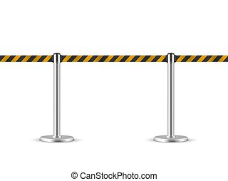 Retractable belt stanchion seamless illustration. Portable ribbon barrier. Striped black-yellow fencing tape. Hazard warning