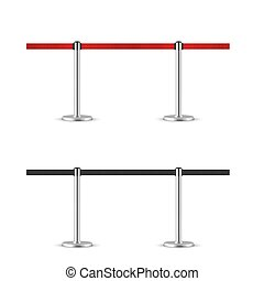 Retractable belt stanchion seamless illustration set. Portable ribbon barriers. Red and black fencing tape.