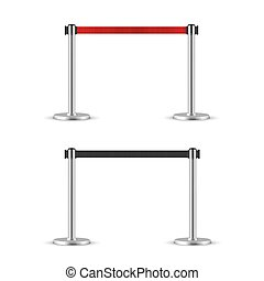 Retractable belt stanchion set. Portable ribbon barrier. black and red fencing tape. Chrome stanchion