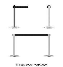 Retractable belt stanchion set. Portable ribbon barrier. black striped hazard fencing tape. Chrome stanchion