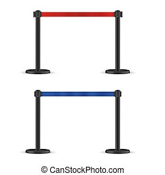 Retractable belt stanchion set. Portable ribbon barrier. Blue and Red fencing tape. Dark matte stand