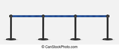 Retractable belt stanchion set. Portable ribbon barrier. Blue striped hazard fencing tape. Dark matte stanchion