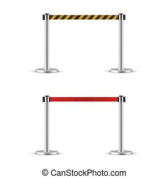Retractable belt stanchion set. Portable ribbon barrier. Red and striped hazard fencing tape. Crome stanchion