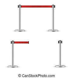 Retractable belt stanchion set. Portable ribbon barrier. Red striped hazard fencing tape. Chrome stanchion