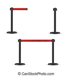 Retractable belt stanchion set. Portable ribbon barrier. Red striped hazard fencing tape. Dark matte stanchion