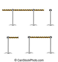 Retractable belt stanchion set, portable ribbon barrier. Striped black-yellow fencing tape. Hazard warning