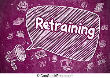 Retraining - Cartoon Illustration on Purple Chalkboard.
