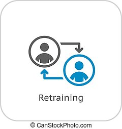 Retraining Icon. Business Concept. Flat Design. Isolated ...
