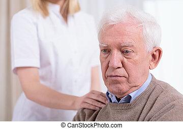 retraité, désespéré, triste