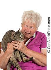 retraité, heureux, elle, chat