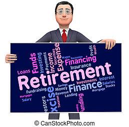 retraité, retraite, mot, fonctionnement, indique, finition