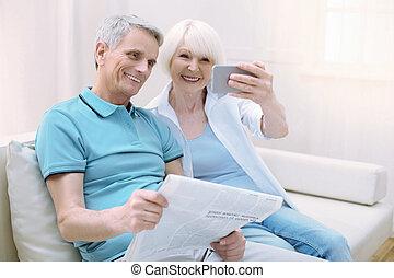 retraités, photos, confection, progressif, maison