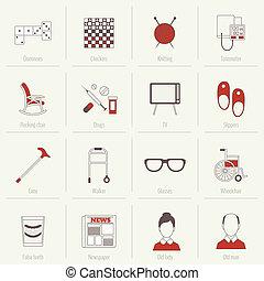 retraités, plat, ligne vie, icônes