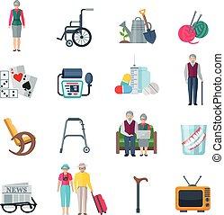 retraités, plat, style de vie, icônes