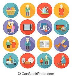 retraités, plat, vie, icônes