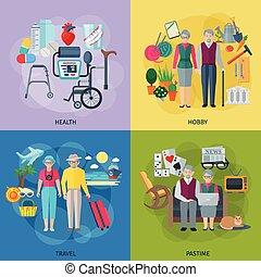 retraités, vie, concept, ensemble, icônes