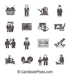 retraités, vie, ensemble, icônes