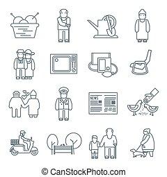 retraités, vie, icônes