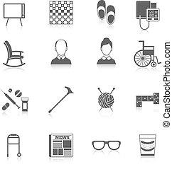 retraités, vie, noir, icônes