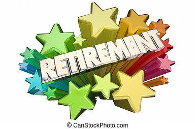retraite, étoiles, loin, fin, aller, adieu, mots, emploi, 3d