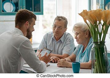 retraite, advisor., planification, clients, financier, personnes agées, consultant
