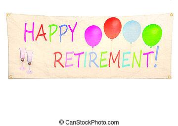 retraite, bannière, heureux