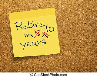 retraite, -, bouchon, note, pension, collant, retard