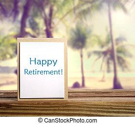 retraite, carte, heureux