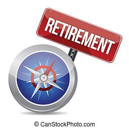 retraite, concept, compas, plan, business