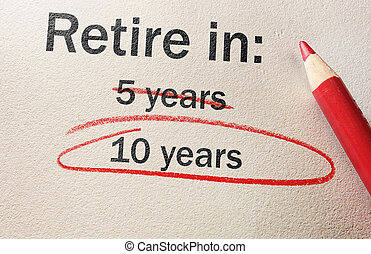 retraite, concept, retardé