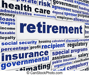 retraite, conceptuel, message, fond