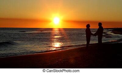 retraite, coucher soleil, ensemble