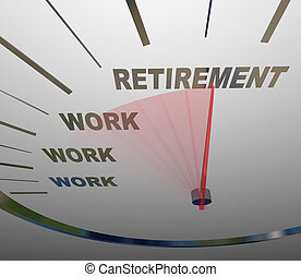 retraite, fin, carrière, courses, travail, compteur vitesse