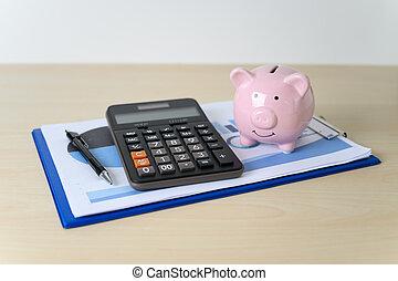 retraite, financier, calculatrice, porcin, plan, assurance, banque, pension
