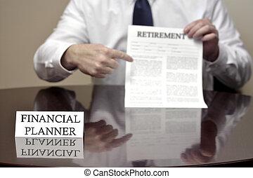 retraite, financier, document, tenue, planificateur
