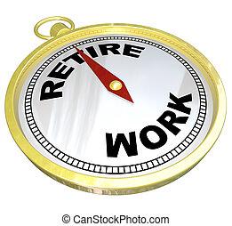 retraite, fonctionnement, carrière, après, -, planification, compas