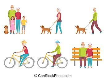 retraite, grandparents., couple., personnes agées, pension, liasure., heureux