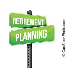retraite, planification, panneaux signalisations