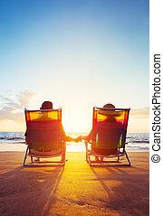 retraite, regarder, concept, vacances, coupé, coucher soleil, mûrir