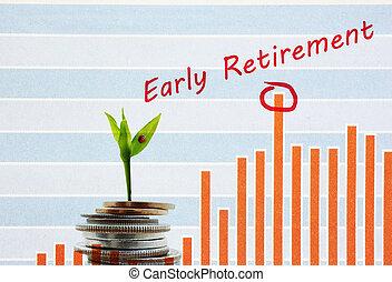 retraite, tôt, économie, concept