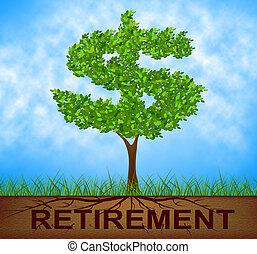 retraite, travail, arbre, indique, finition, branche